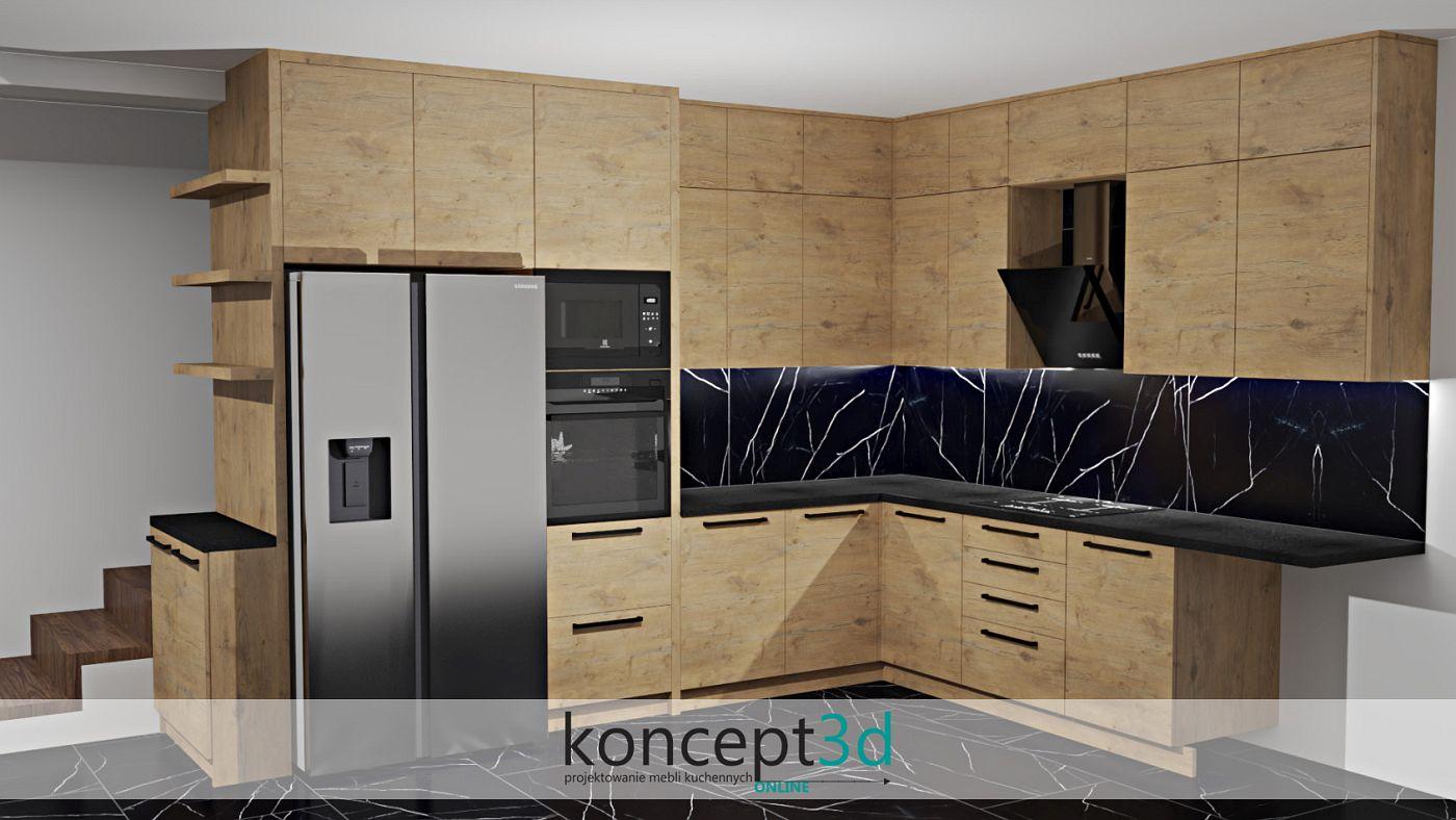 Kuchnia z płyty dąb Lancelot i czarna zabudowa AGD   wizualizacje kuchni koncept3d