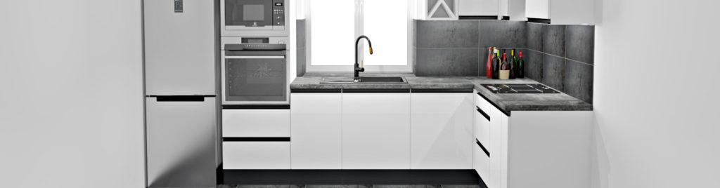 Biała kuchnia z czarnymi uchwytami UKW7 | koncept3d