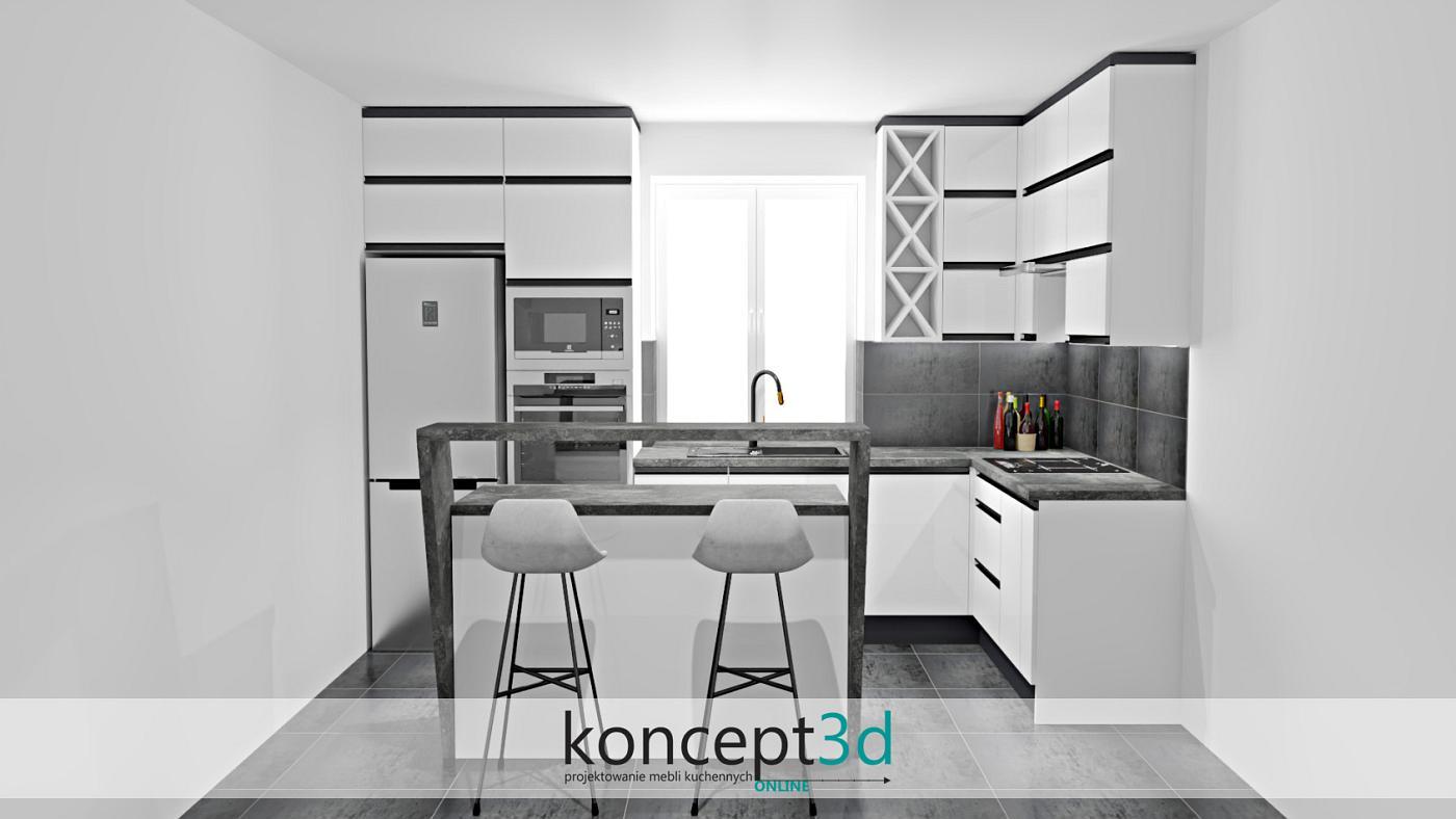 Nieprzemijalne kolory, czerń i biel w nowoczesnej kuchni | projekty koncept3d