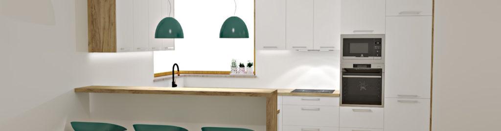 Biała kuchnia z oknem rogowym | koncept3d