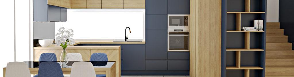 Granatowa kuchnia z zdrewnem Hikora naturalna | projektowanie kuchni koncept3d