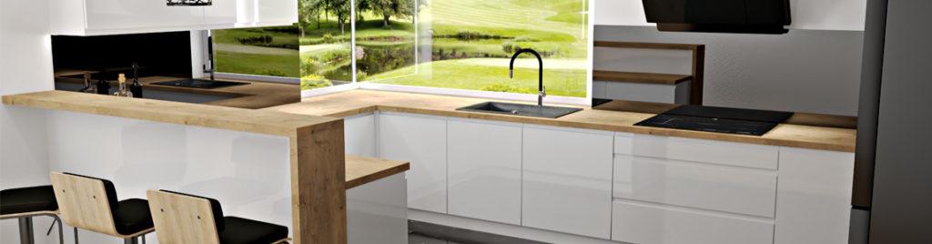 Kuchnia biało czarno drewniana | koncept3d
