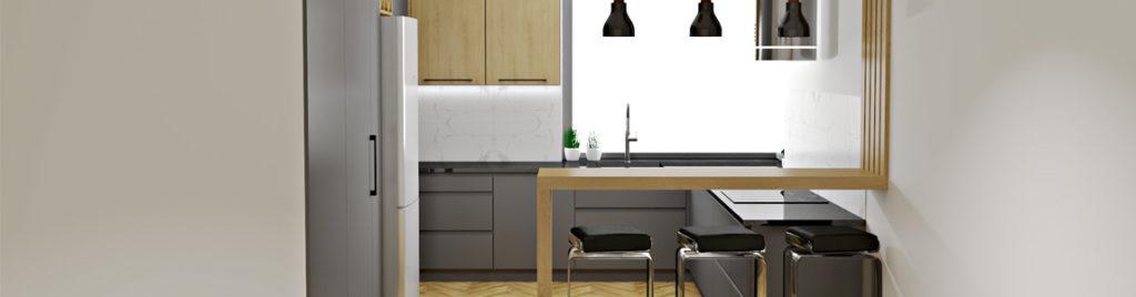 Nowoczesna kuchnia z oknem narożnym | wizualizacje mebli kuchennych koncept3d