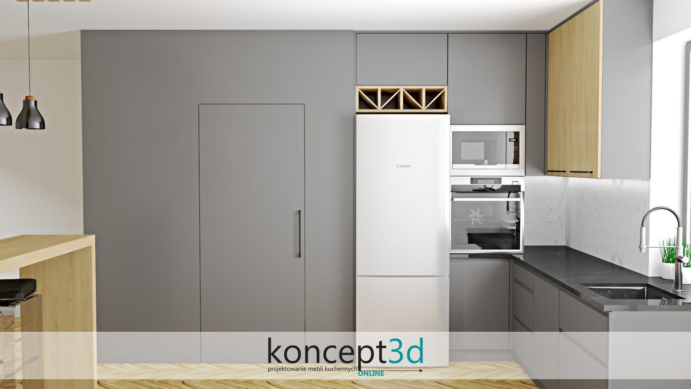 Nowoczesna kuchnia z oknem narożnym i pełną zabudową ścian   aranżacje kuchni koncept3d