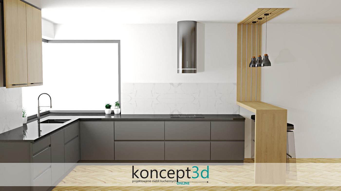Ażurowy panel w nowoczesnej kuchni z narożnym oknem   projektowanie kuchni koncept3d