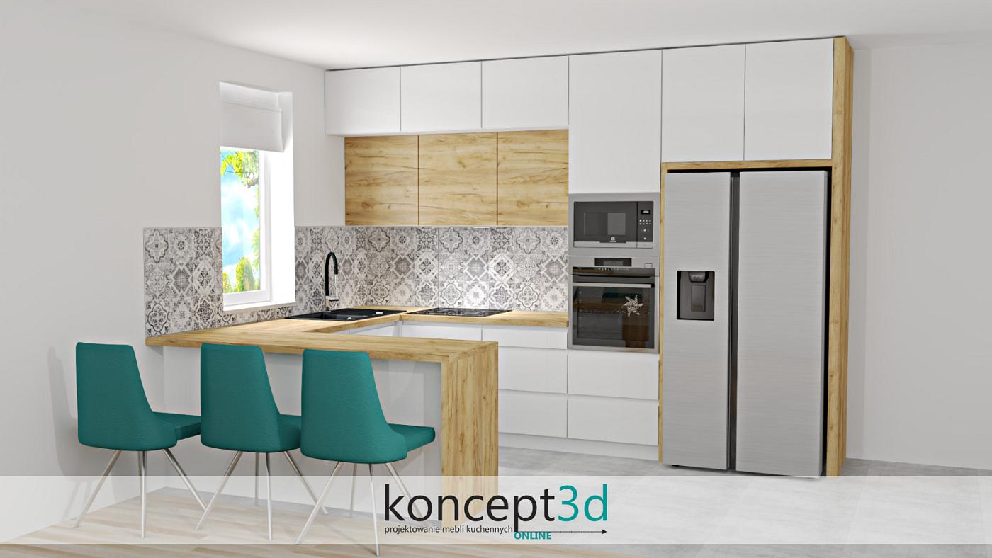 Nowoczesne połączenie, czyli dąb Craft Złoty K003 + lakier biały matowy. Zwróćmy uwagę, jak doskonale zgrały się w nowoczesnym projekcie płytki patchworkowe na ścianie. Nie są one przeznaczone jedynie do klasycznych rozwiązań, a równie dobrze sprawdzą się świetnie w tego typu kompozycjach. Aby całość ożywić, do projektu zastosowane zostały krzesła w kolorze turkusu, który obecnie należy do jednych z najmodniejszych. Oczywiście kolejnym plusem będzie bez wątpienia bardzo duża ilość szuflad