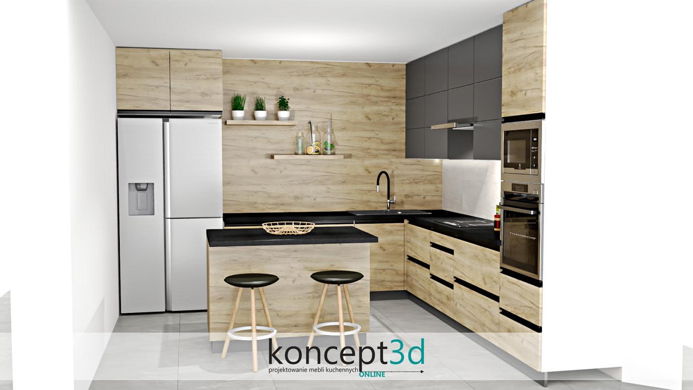 Lakierowane na czarno uchwyty listwowe, to coraz częściej spotykany trend w Państwa projektach. Poza świetną jakością cechują się także niebanalnym designem. Jak na zdjęciach zauważymy, połączenie tegoż uchwytu z płytą laminowaną Dąb Craft Złoty K003 nie stanowi problemu. Efekt wizualny również jest bardzo ciekawy. Koniecznie zwróćmy uwagę na dużą połać ściany w drewnianym dekorze - jeśli komuś się podoba to czemu nie?