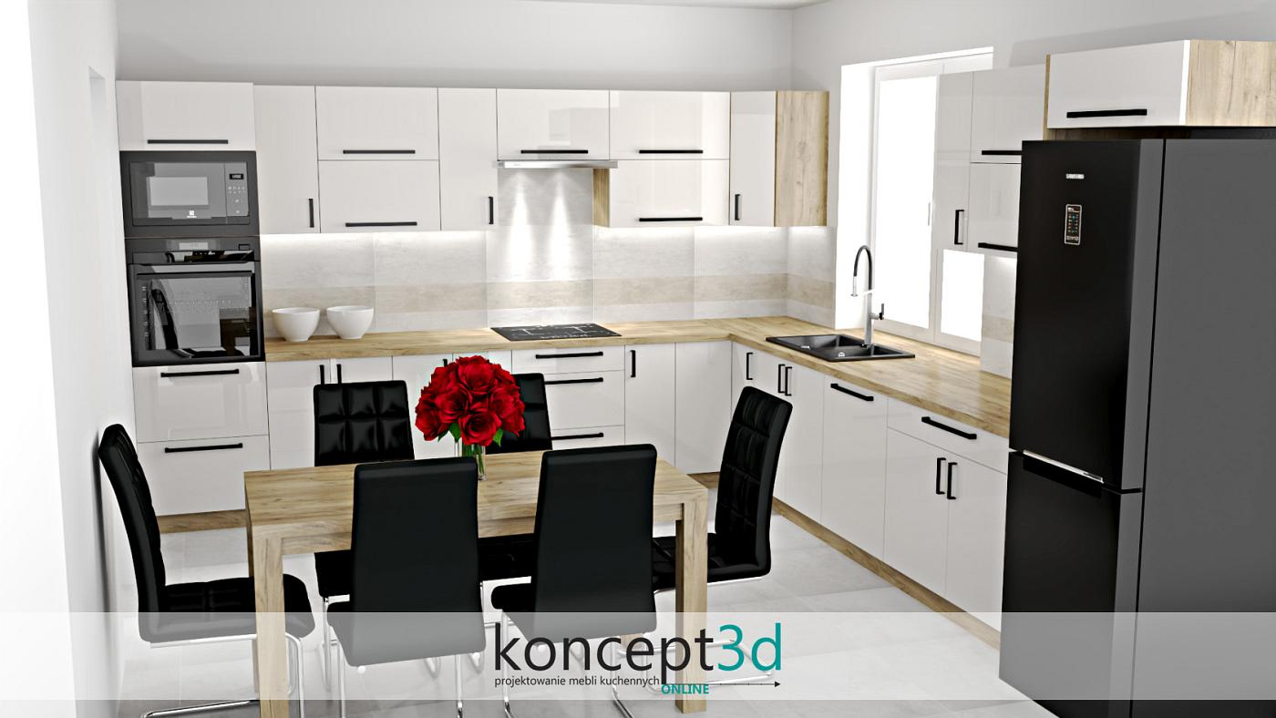 Kolejna aranżacja przedstawiająca nowoczesną kuchnię białą połączoną z drewnem Dąb Craft Złoty K003. Po raz kolejny również odnajdziemy tutaj czarny sprzęt AGD, ale także designerskie krzesła. Jak gdzieś wcześniej pisaliśmy, ogromną zaletą tego drewna będzie to, że zastosujemy go na blat kuchenny. Jeśli na blat kuchenny to i na stół, aby wszystko utrzymane było w jednej kompozycji
