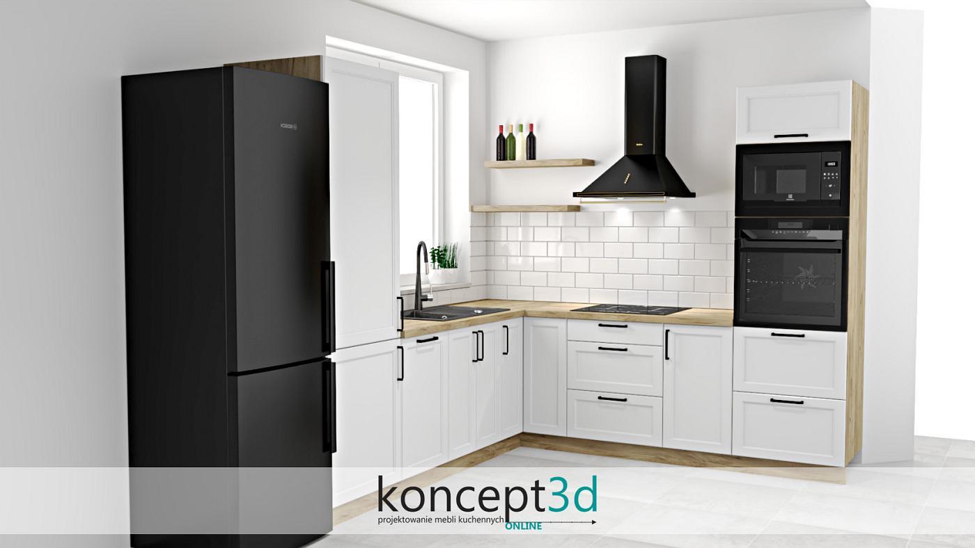 Biała kuchnia w kształcie litery L to często pojawiający się układ w domach czy mieszkaniach. Prezentowana wizualizacja to właśnie ten rodzaj zabudowy. Całość zestawiona została dwoma kolorami: biały oraz drewnianym. Aby jednak wprowadzić element zaskoczenia, zastosowaliśmy sprzęty AGD w kolorze czarnym. Idąc za ciosem, uchwyty kuchenne również nawiązujące do sprzętów, czyli czarne. Ostatnio dosyć ciekawym trendem stało się wypełnianie zabudowy ściennej białymi ceramicznymi płytkami