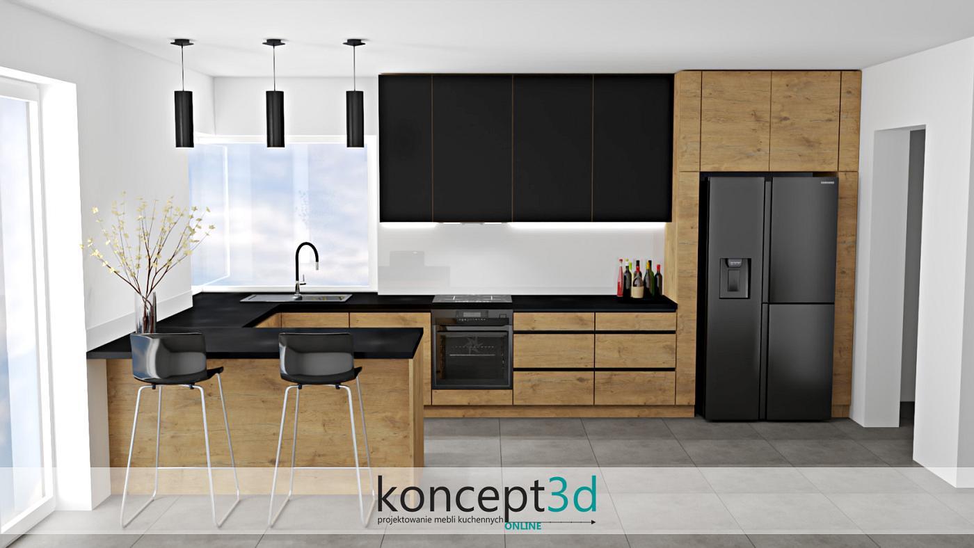 Dąb Lancelot w kuchni z czarnymi elementami to ponadczasowe rozwiązanie. Na przykładzie widzimy, że całość wygląda bardzo dostojnie i poważnie. Czarne uchwyty dodały meblom kuchennym prestiżu i czegoś niestandardowego. Czarny blat natomiast, stał się się wyznacznikiem strefy pracy. Drewno w poziomie lub pionie to rzecz, którą możemy dostosować wg własnego uznania