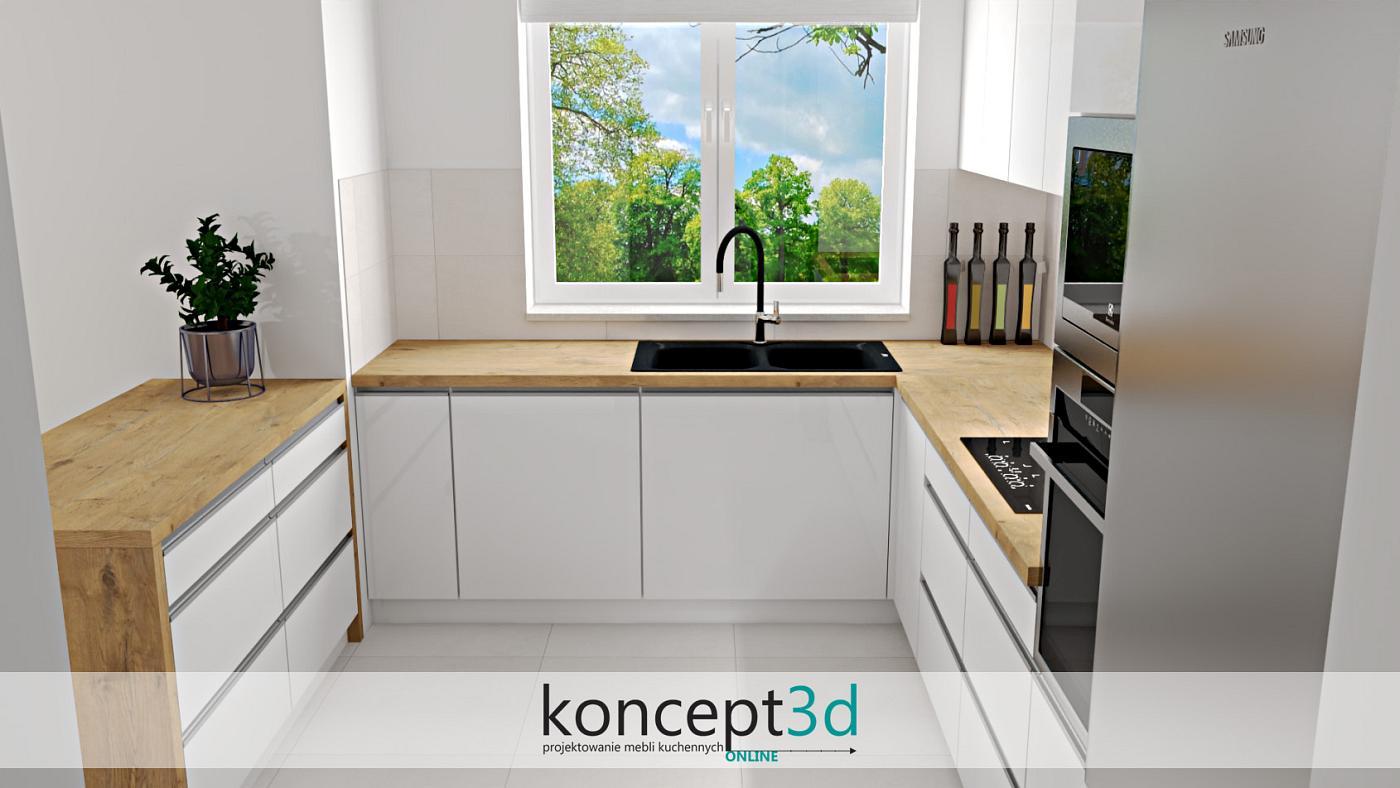 Dąb Lancelot w kuchni i po raz kolejny nowoczesna aranżacja. Tym razem biały połysk zestawiony został z uchwytami listwowymi aluminiowymi. Blat roboczy jak i pionowe zakończenia półwyspu to już płyta drewniana laminowana. Oczywiście jak zwykle musimy zwrócić uwagę na duże okno, które w kuchniach jest praktycznie niezbędne
