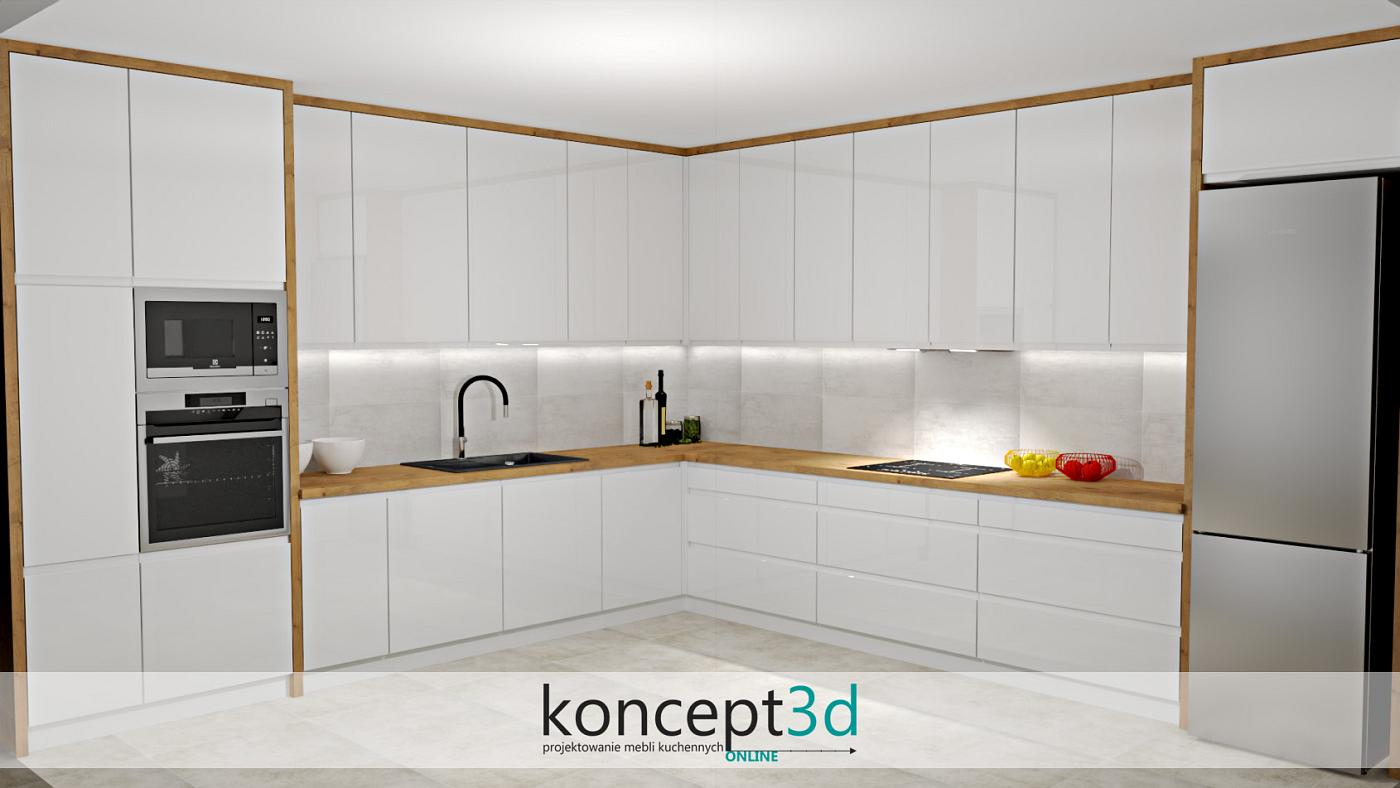 Duża kuchnia na dwóch ścianach. Całość biały połysk połączony z dębem. Drewniane są jednak tylko dodatki, takie jak pogrubienia oraz blat roboczy. Dzięki temu zachowaliśmy czystość i biel mebli, a podkreśliliśmy jedynie jest zarys. Dąb Lancelot w kuchni jako obwódka całości - polecamy