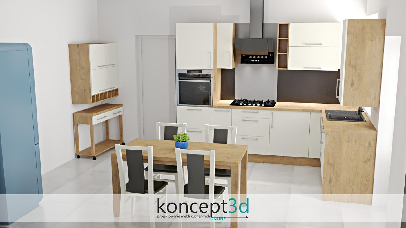 Dąb Lancelot w kuchni ze stołem i ciekawą szafeczką na kółkach. Przestawiona aranżacja ma na celu ukazanie, że wykonanie stołu, czy jakiegoś niestandardowego elementu nie będzie większym problemem dla stolarza. Zamawiając meble na wymiar mamy pewność, że każdy element pomieszczenia utrzymany zostanie w dokładnie tej samej kolorystyce