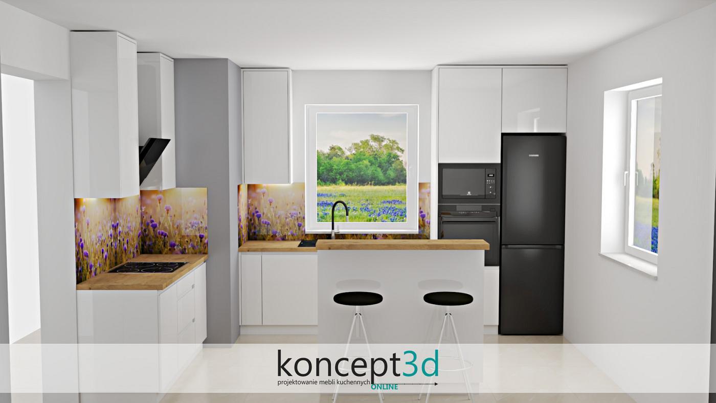 Jeśli jesteśmy zwolennikami białego koloru, a dekor drewna ma być tylko dodatkiem - nie ma problemu. W powyższej wizualizacji kuchni zastosowaliśmy tylko blat z dębu Lancelot. Jak widać kompozycja z czarnym AGD oraz ciekawą grafiką na ścianie wygląda dosyć oryginalnie