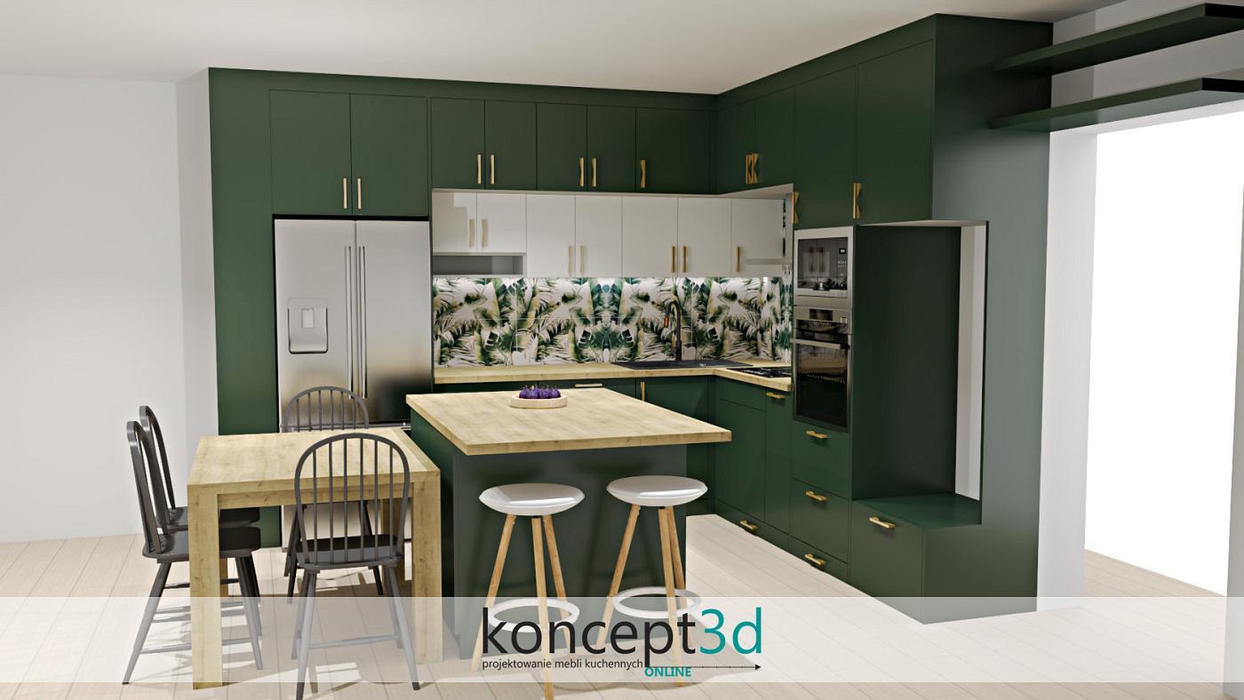 Idealnymi dodatkami do ciemnozielonej kuchni jest złoto, biel, drewno, czy miedź. Takie najczęściej stosujemy, a efekty cieszą oko naszych klientów