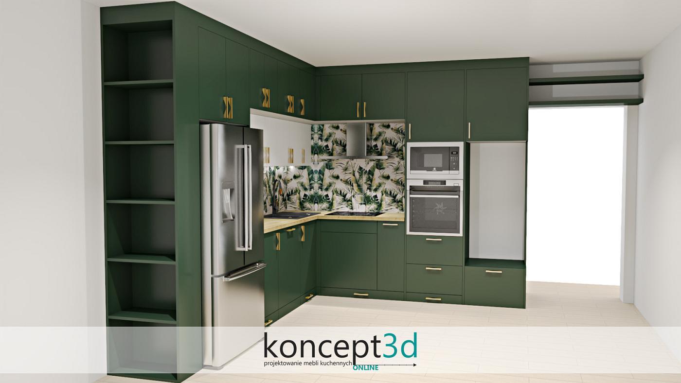 Zakończenie zabudowy meblowej półeczkami świetnie wpływa na cały design kuchni oraz spełnia wszelkie potrzeby użytkowników kuchni i salonu. Kuchnia ciemnozielona ze złotymi uchwytami jest więc bardzo nowoczesna