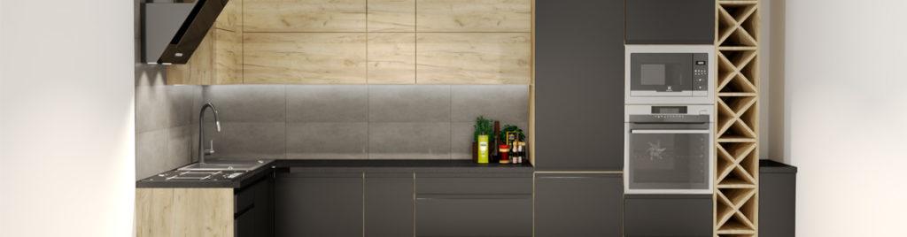 Kuchnia czarny mat z drewnem | projekty koncept3d
