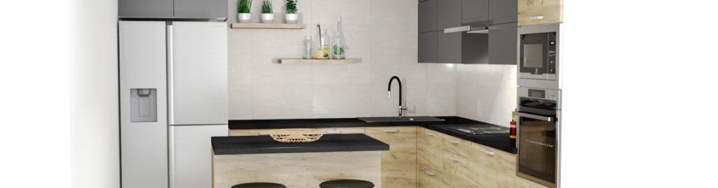 Kuchnia dąb złoty z antracytem | projekty kuchni koncept3d