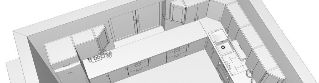 Kuchnia w kształcie litery L | projekty kuchni koncept3d