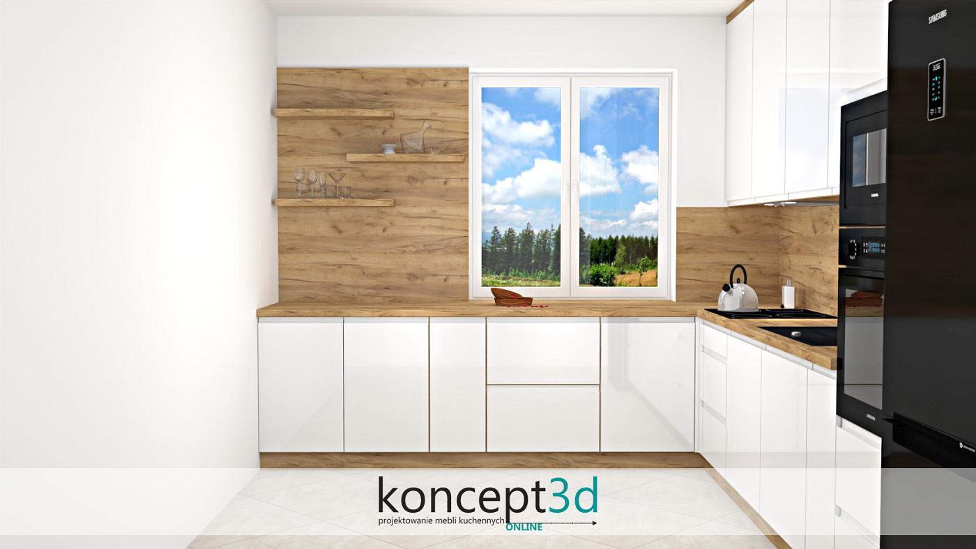Zamiast szafek wiszących możemy wykorzystać po prostu wolne półki na ścianie. Będzie na nich doskonałe miejsce na dekoracje