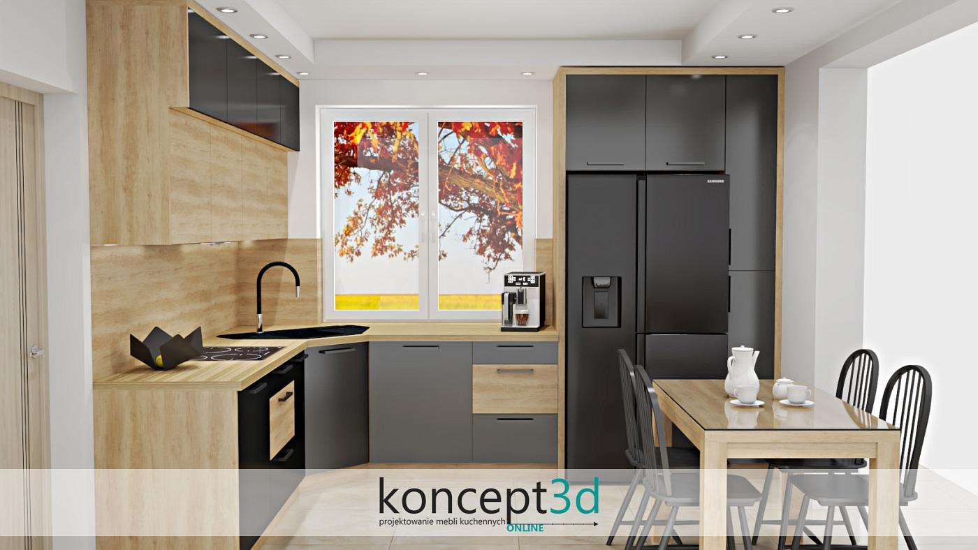 Kuchnia w kształcie litery L zestawiona z dwoma kolorami: czarnym matowym i drewnianym