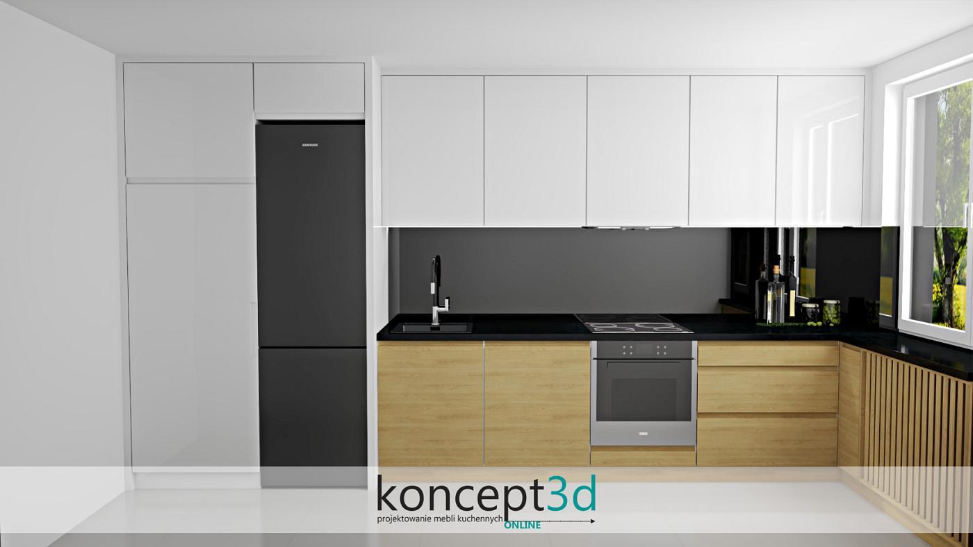 Połączenie drewna i białego połysku to bardzo dobre rozwiązanie podczas aranżowania niewielkiej kuchni w L