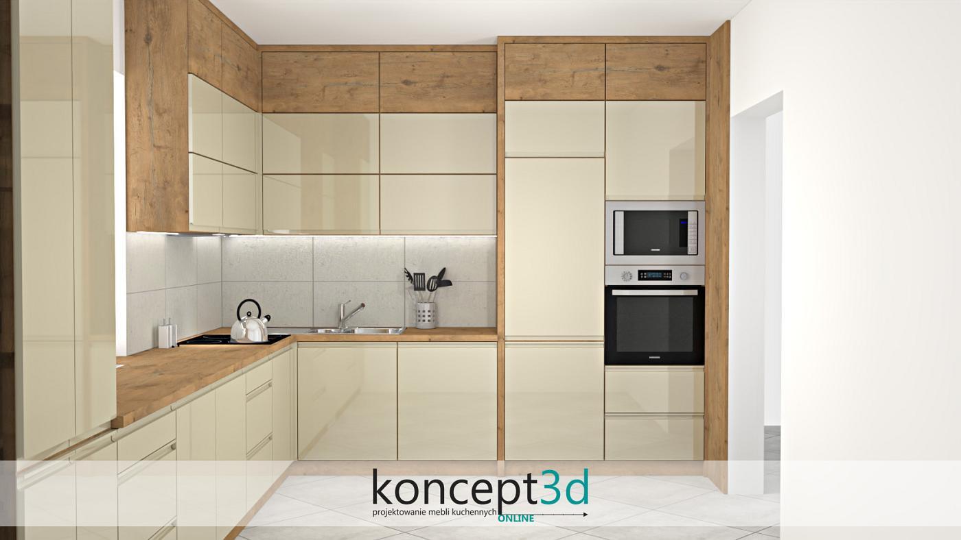 Po raz kolejny szafki zostały zaprojektowane pod sufit. Dodatkowo wysokie zabudowy okala drewniana, pogrubiona rama