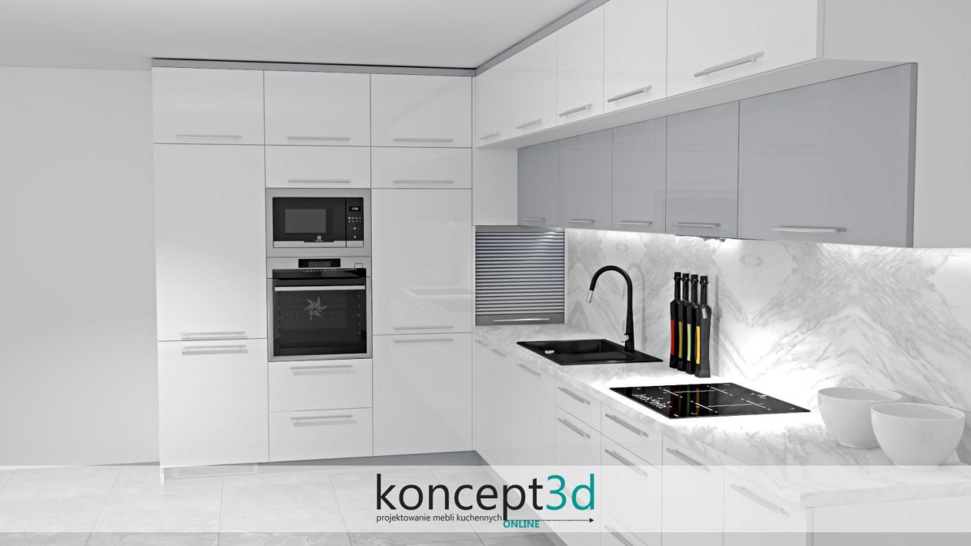 Biała połyskowa kuchnia w kształcie litery L z wysoką zabudową pod sam sufit. W rogu świetnym pomysłem będzie zamontowanie żaluzji