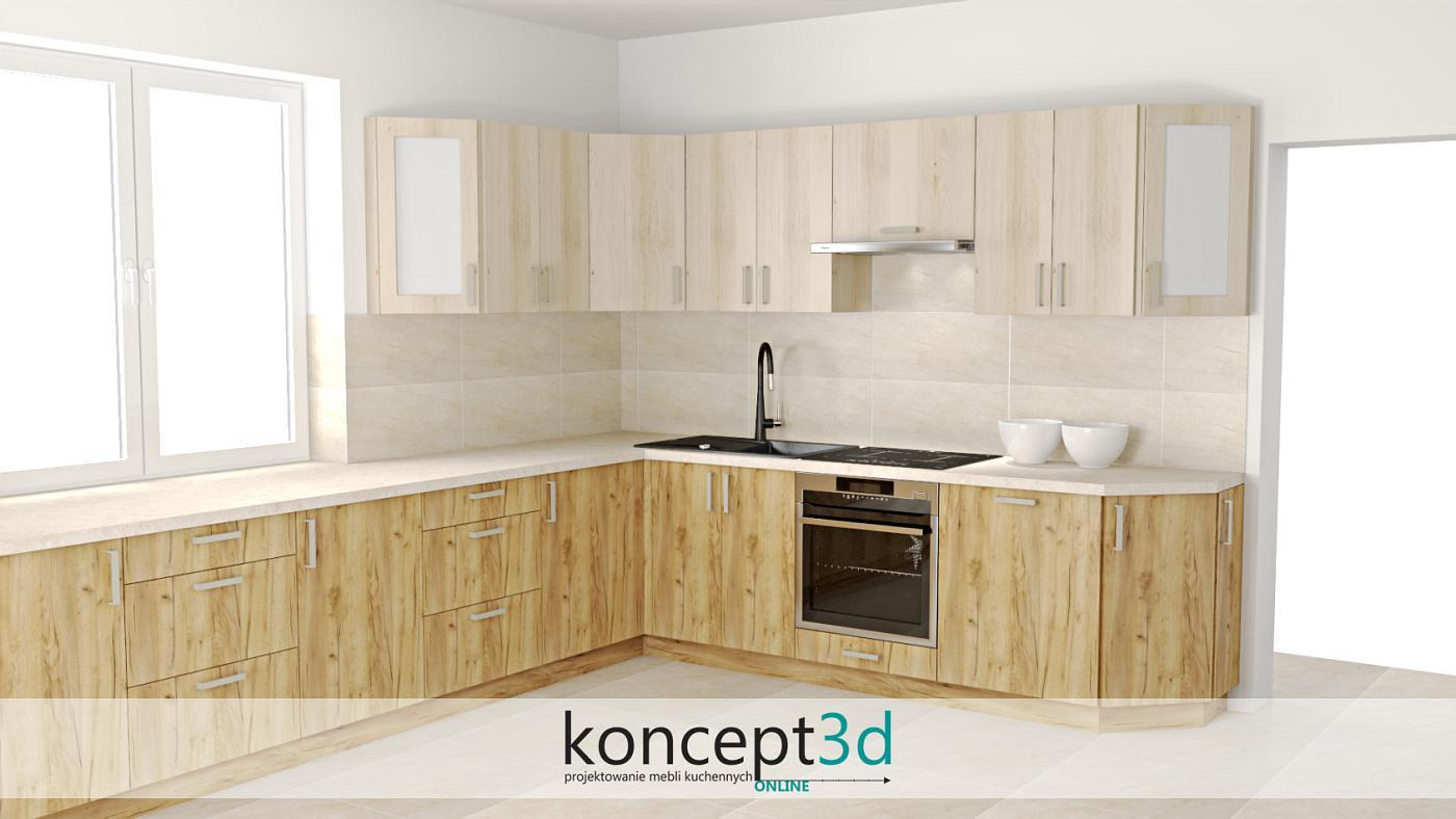 Projekt mebli kuchennych ze ściętymi szafkami zakończeniowymi | koncept3d