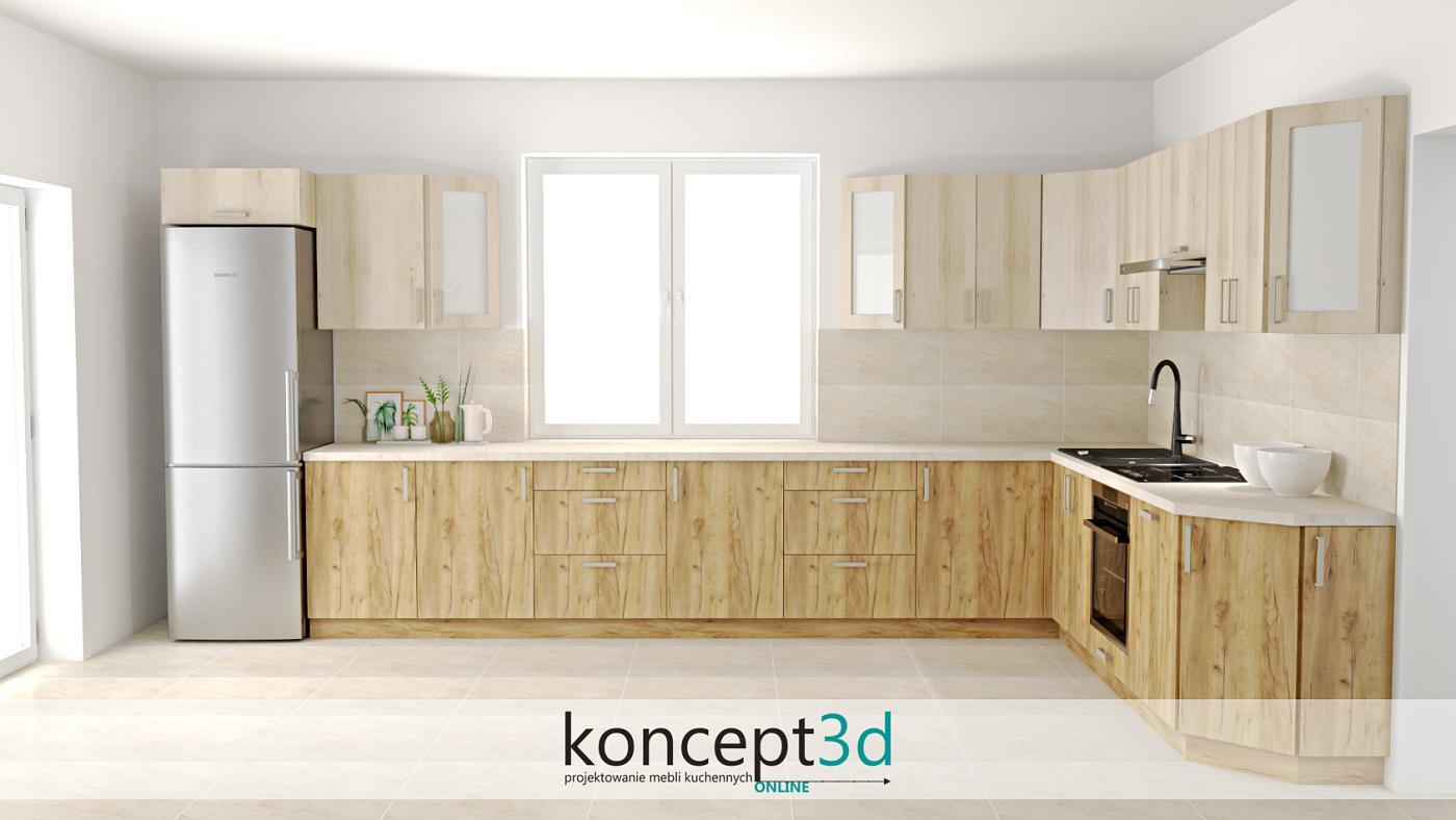 Dwa rodzaje drewna - ciemniejsze na dole i jaśniejsze na górze. Kuchnia w kształcie litery L posiada swoje ogromne zalety!