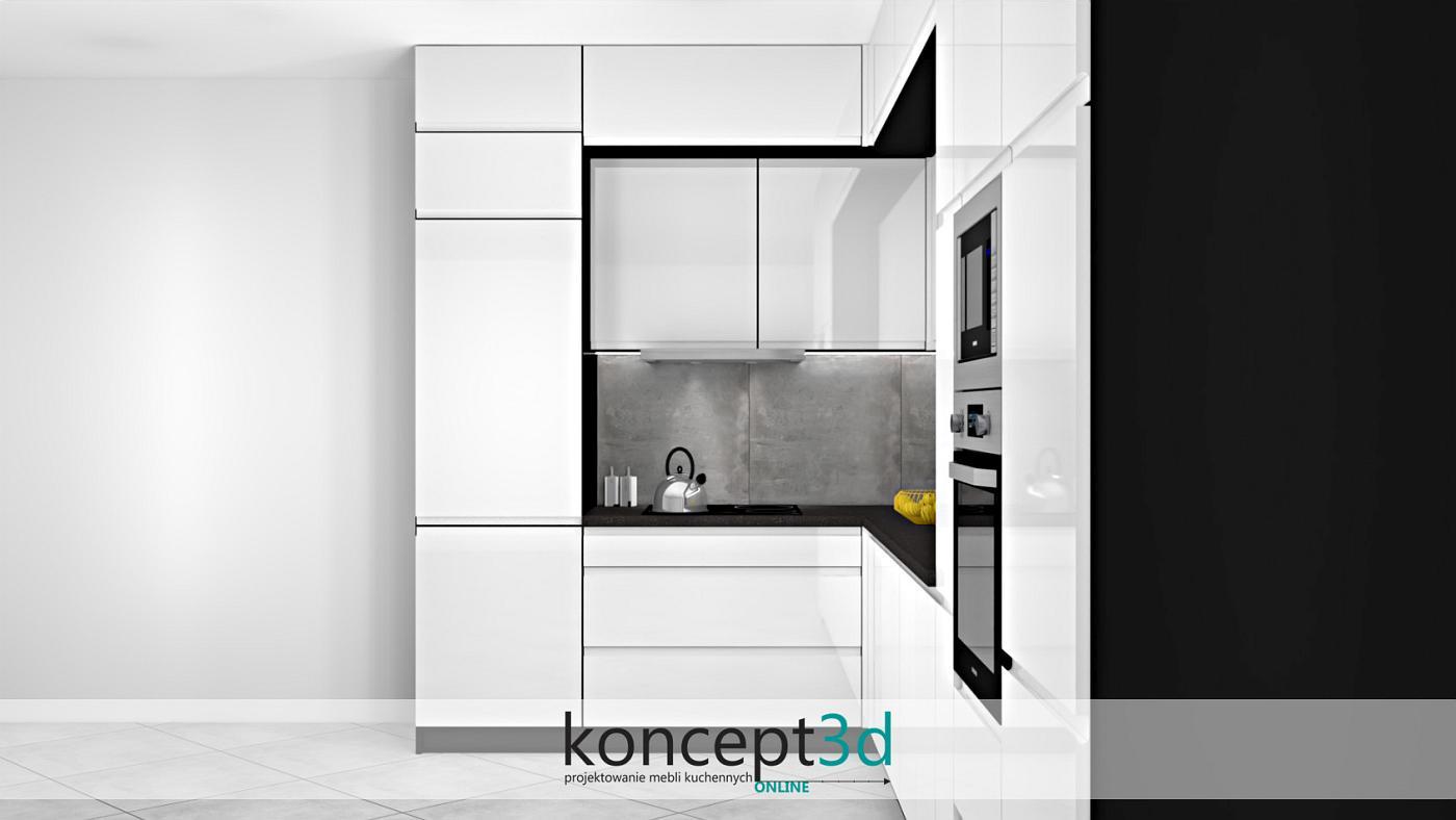 Na projekcie kuchni szafki pod sufitem są głębokości tej samej co wysokie słupki. Pozostałe szafki wiszące standardowo ok. 30 cm głębokości