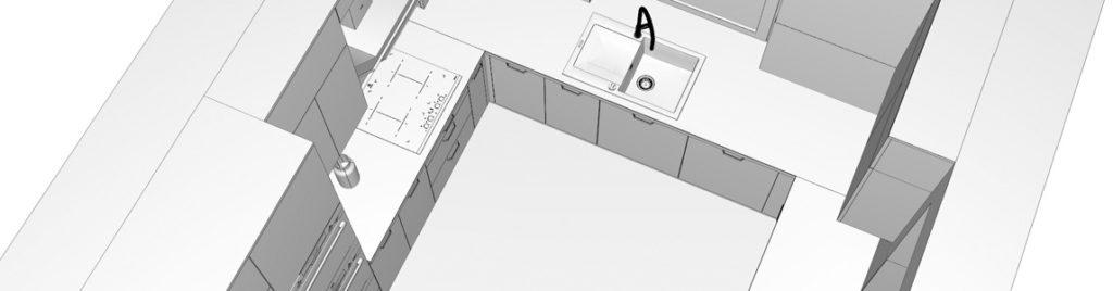 Kuchnia w kształcie litery U w koncept3d