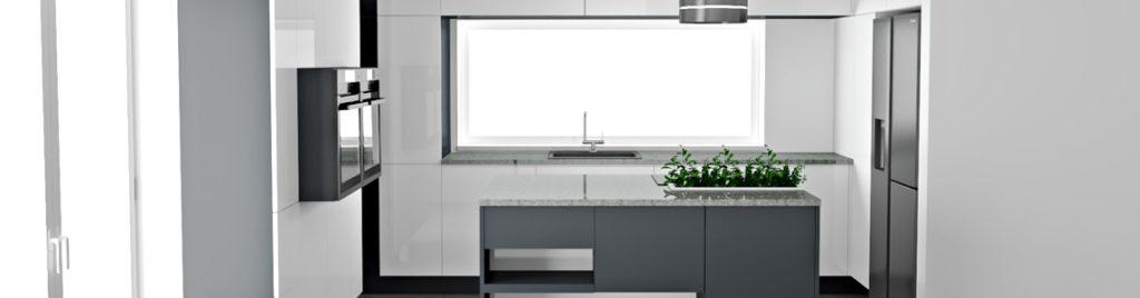 Nowoczesna biała kuchnia | projekty kuchni koncept3d