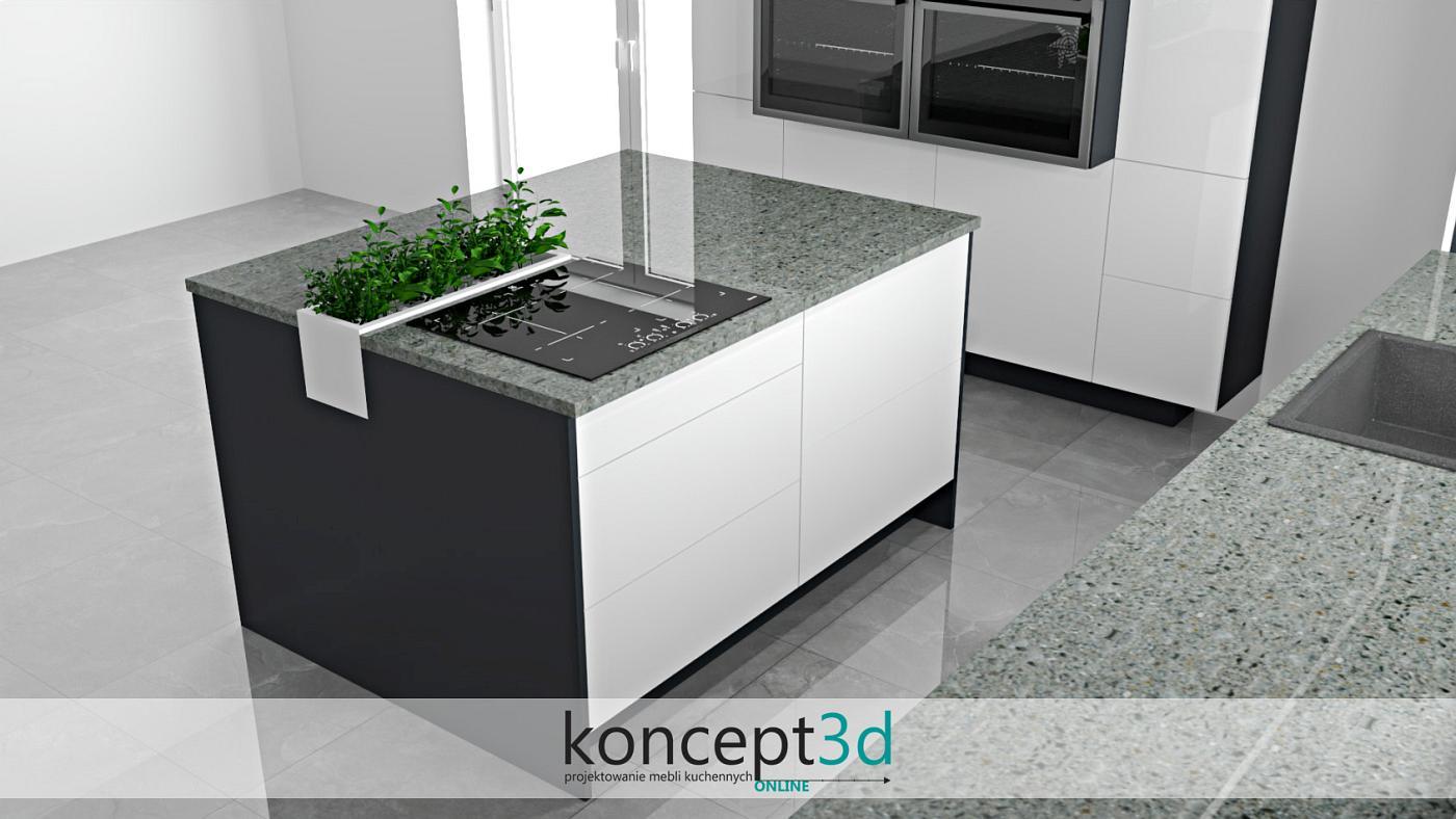 Ciekawa propozycja od koncept3d to wbudowana w blat wyspowy doniczka na zioła. Nowoczesna biała kuchnia bez dwóch zdań