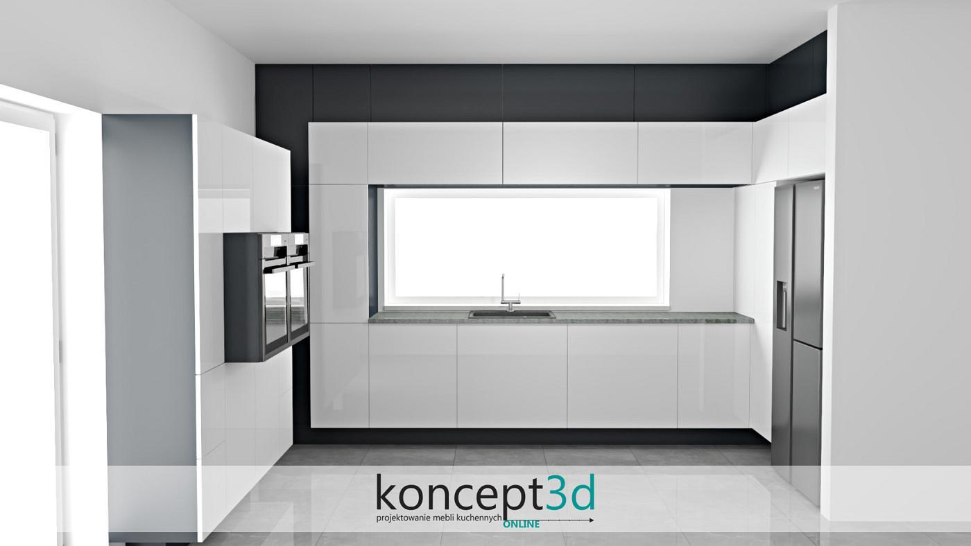 Wsunięte w głąb zabudowy meblowej szafki w kolorze szarym sprawiają wrażenie eleganckiego zakończenia w formie cokołu. Nowoczesna biała kuchnia w 100%