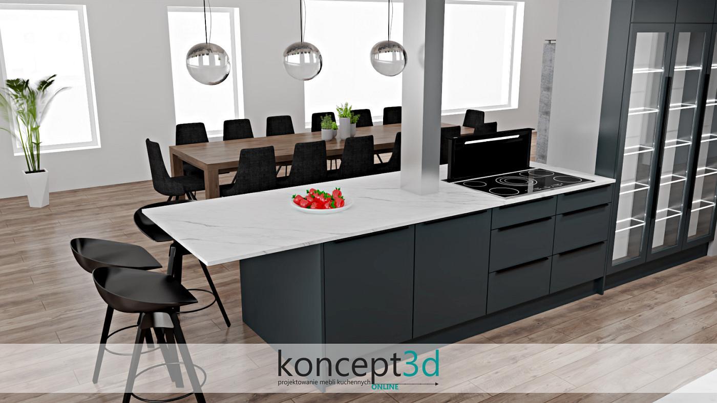 Filar na środku wyspy to nie problemowy, ale dekoracyjny i urokliwy element w kuchni