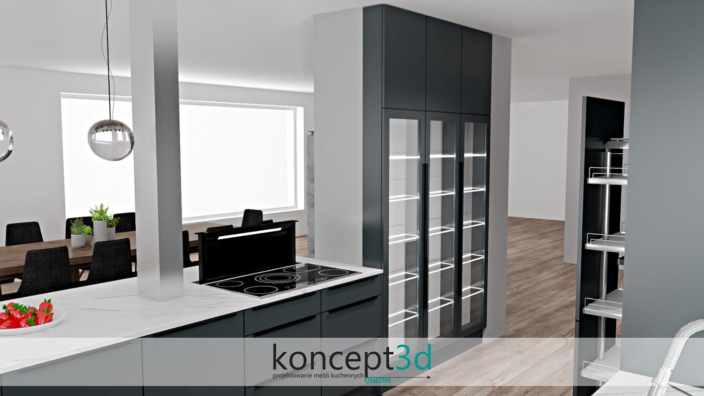 Duża witrynka w dużej kuchni idealnie spełnia się w roli wystawy