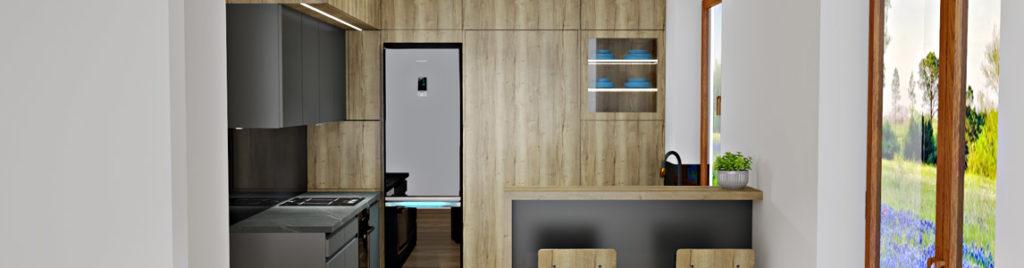 Projekt szarej kuchni z drewnem w koncept3d