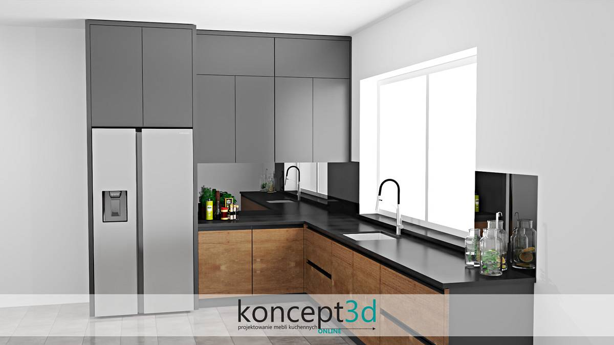 Kuchnia antracyt z szafkami pod sufit | koncept3d projekty kuchni
