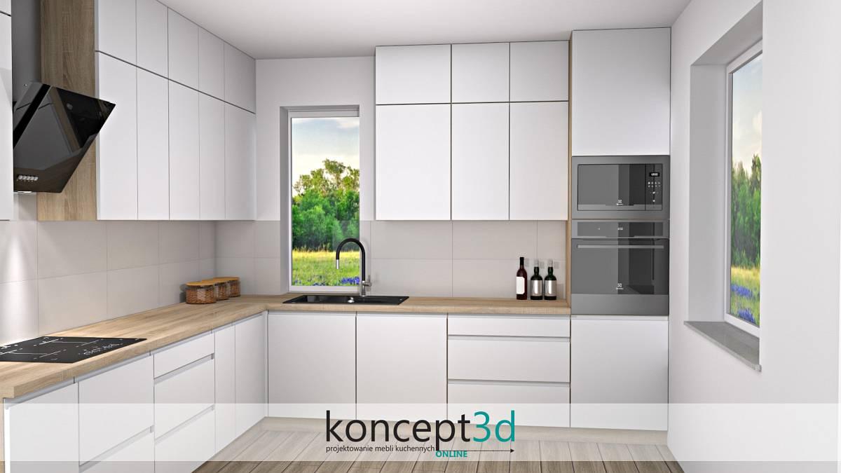 Aranżacja kuchni białej z drewnianym blatem i czarnym zlewem