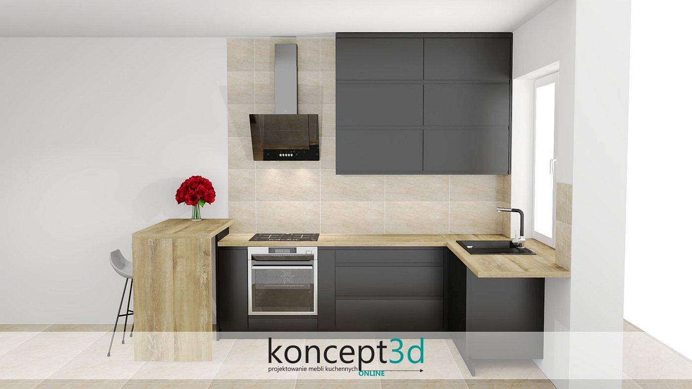 Projekt matowej kuchni w czerni i drewnie | koncept3d projekty kuchni