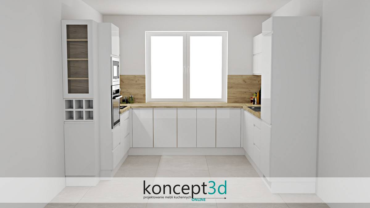Biało drewniana kuchnia z frezowanymi uchwytami   koncept3d projekty kuchni
