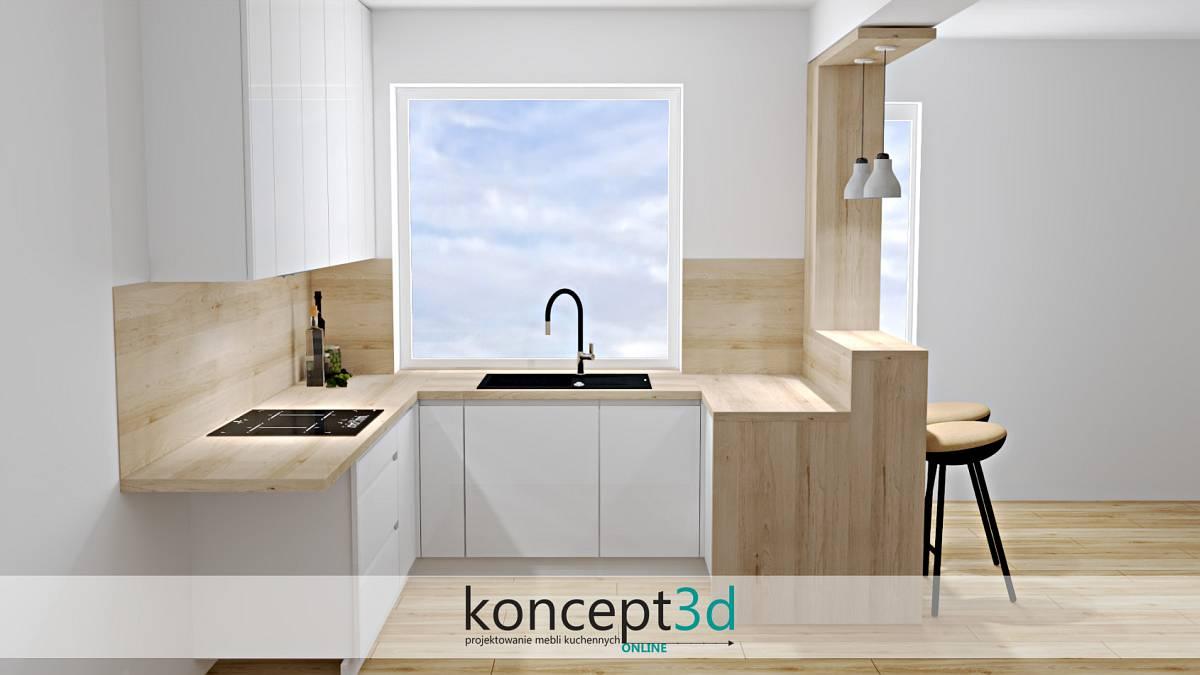 Kuchnia z półwyspem i otwartymi półeczkami | koncept3d