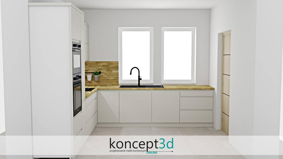 Kremowa kuchnia z dwoma niewielkimi oknami i czarnym zlewem | projekty kuchni koncept3d