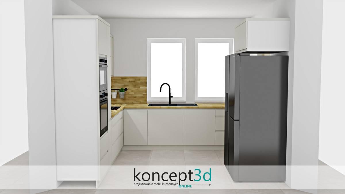 Kremowa kuchnia z drewnianym blatem i zabudową w formie litery U | koncept3d