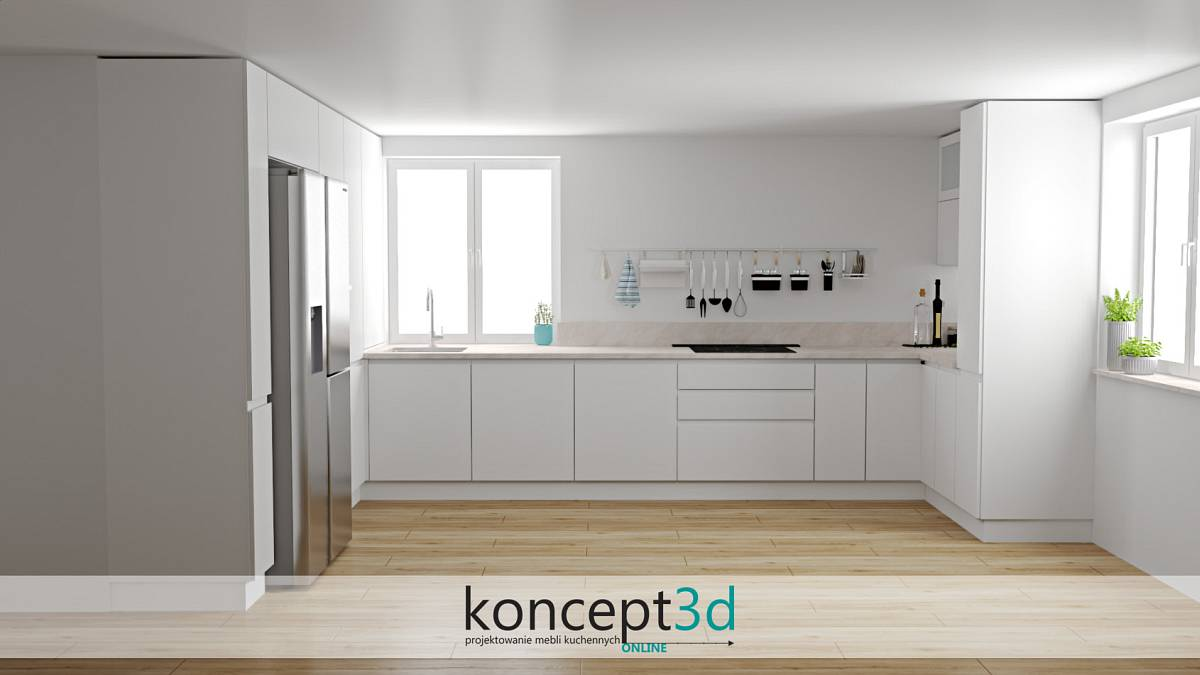 Biała kuchnia w U z drewnianą podłogą i jasnym blatem z kamienia   koncept3d