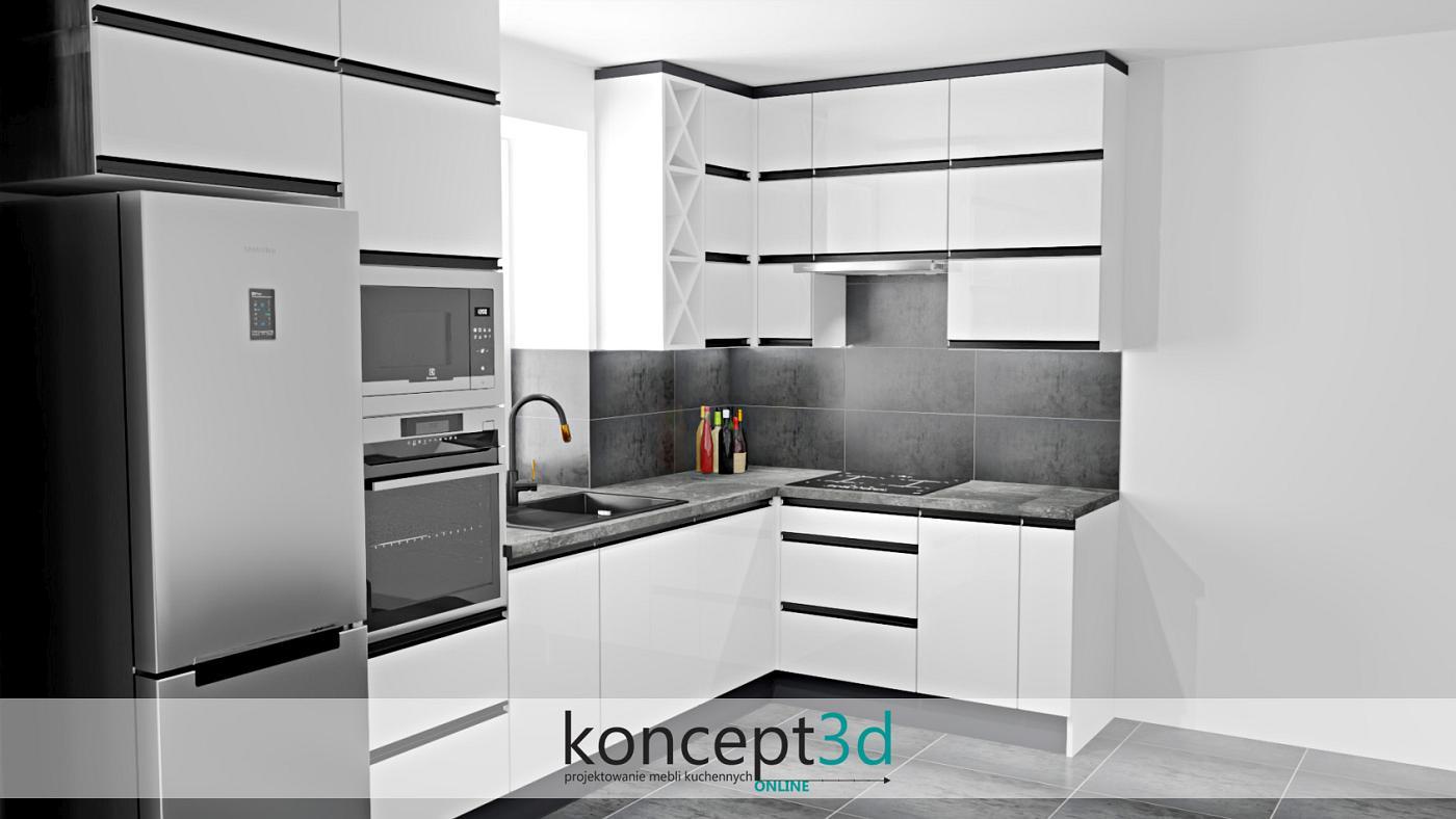 Betonowy blat w białej kuchni z czarnymi uchwytami   koncept3d projekty kuchni