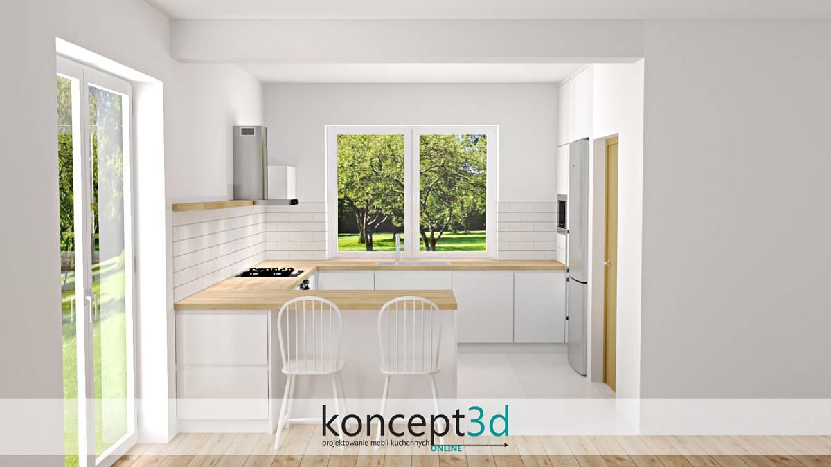Biała cegła w kuchni nad blatem | koncept3d projekty kuchni