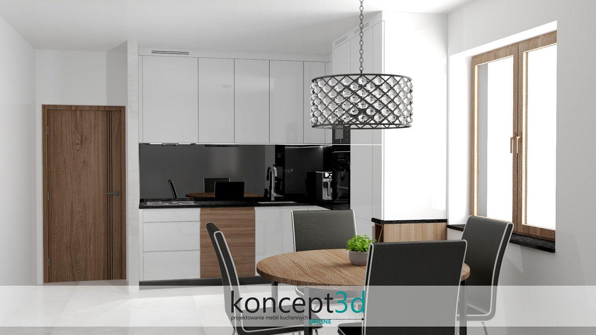 Ciemny blat w białej kuchni   koncept3d projekty kuchni