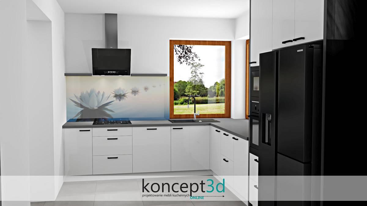 Grafika na ścianie w białych meblach i szary blat   koncept3d projekty kuchni